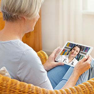 Inner Banks patient talking to a doctor via TeleHealth.